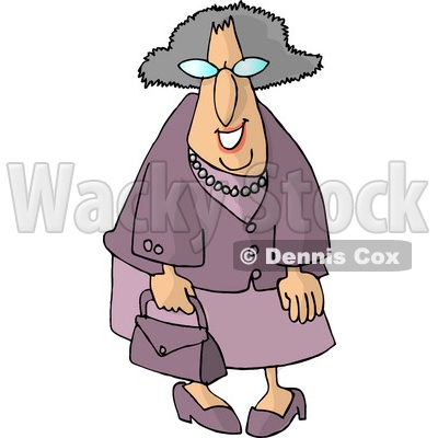 Funny Elderly Woman Going Shopping Clipart   Dennis Cox  4969