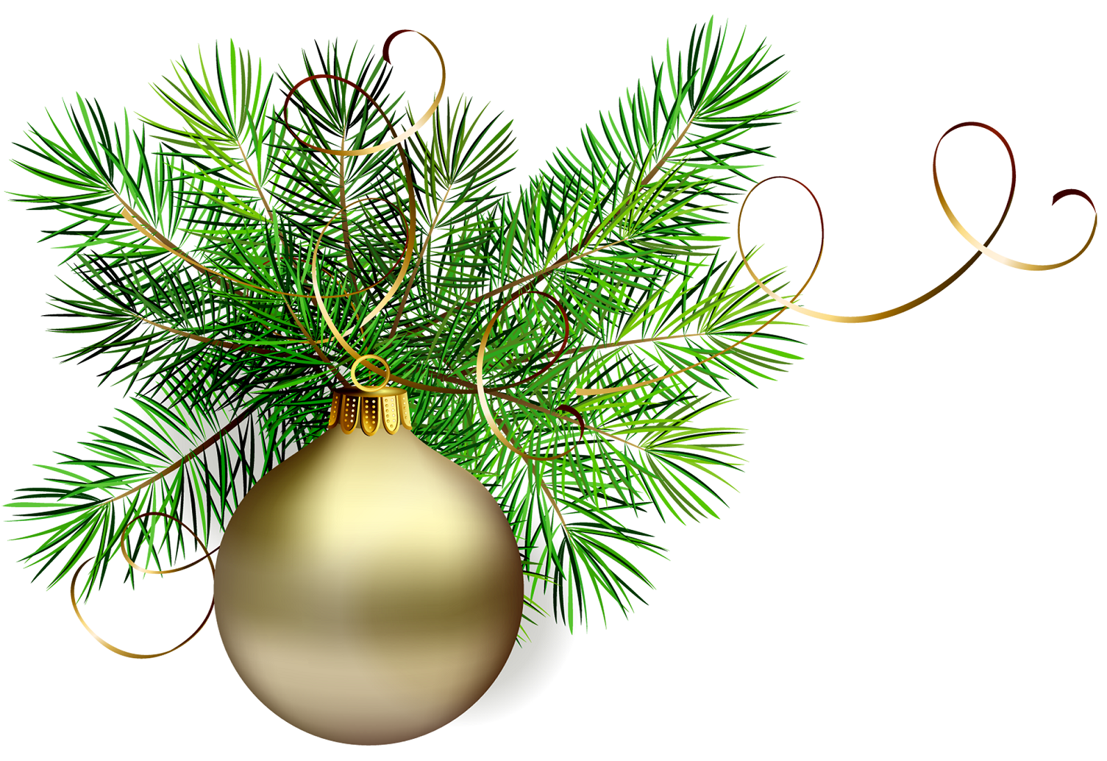 Gold Christmas Bulb On A Pine Branch   Clip Art Holiday Scrapbook Ca