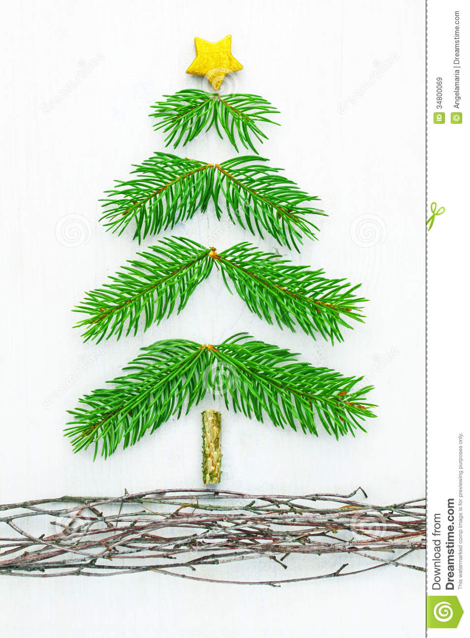 Handmade Pine Bough Christmas Tree Real Natural Boughs Vines 34800069