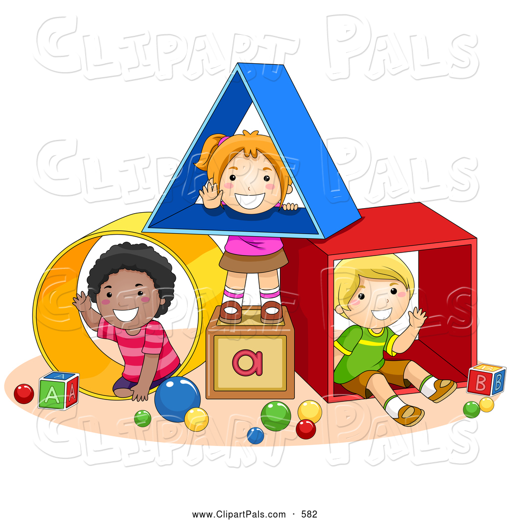 Pal Clipart Of Diverse School Kids Playing With Shapes At A Daycare By