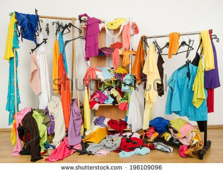 Untidy Cluttered Woman Wardrobe With Colorful Clothes And Accessories