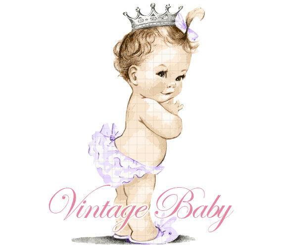 Vintage Baby Girl With Tutu  Purple  Clipart