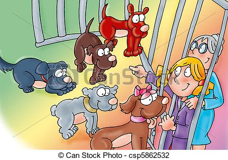 Clip Art Of The Shelter Grandmother And Granddaughter Choosing A Dog
