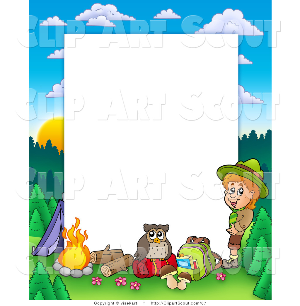Clipart Of A Boy Camping In The Wild Border Frame Around White Space
