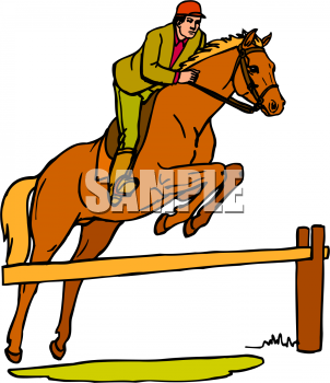 Clipart Picture Of An Equestrian Jumping A Horse