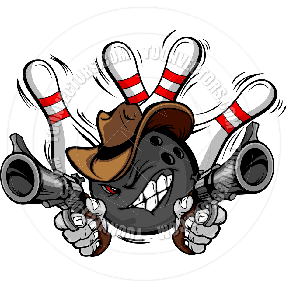 Cowboy Bowling Ball Cartoon Shootout By Chromaco   Toon Vectors Eps