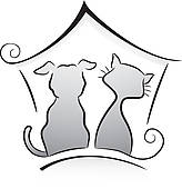Dog And Cat Clip Art Black And White Cat And Dog Shelter
