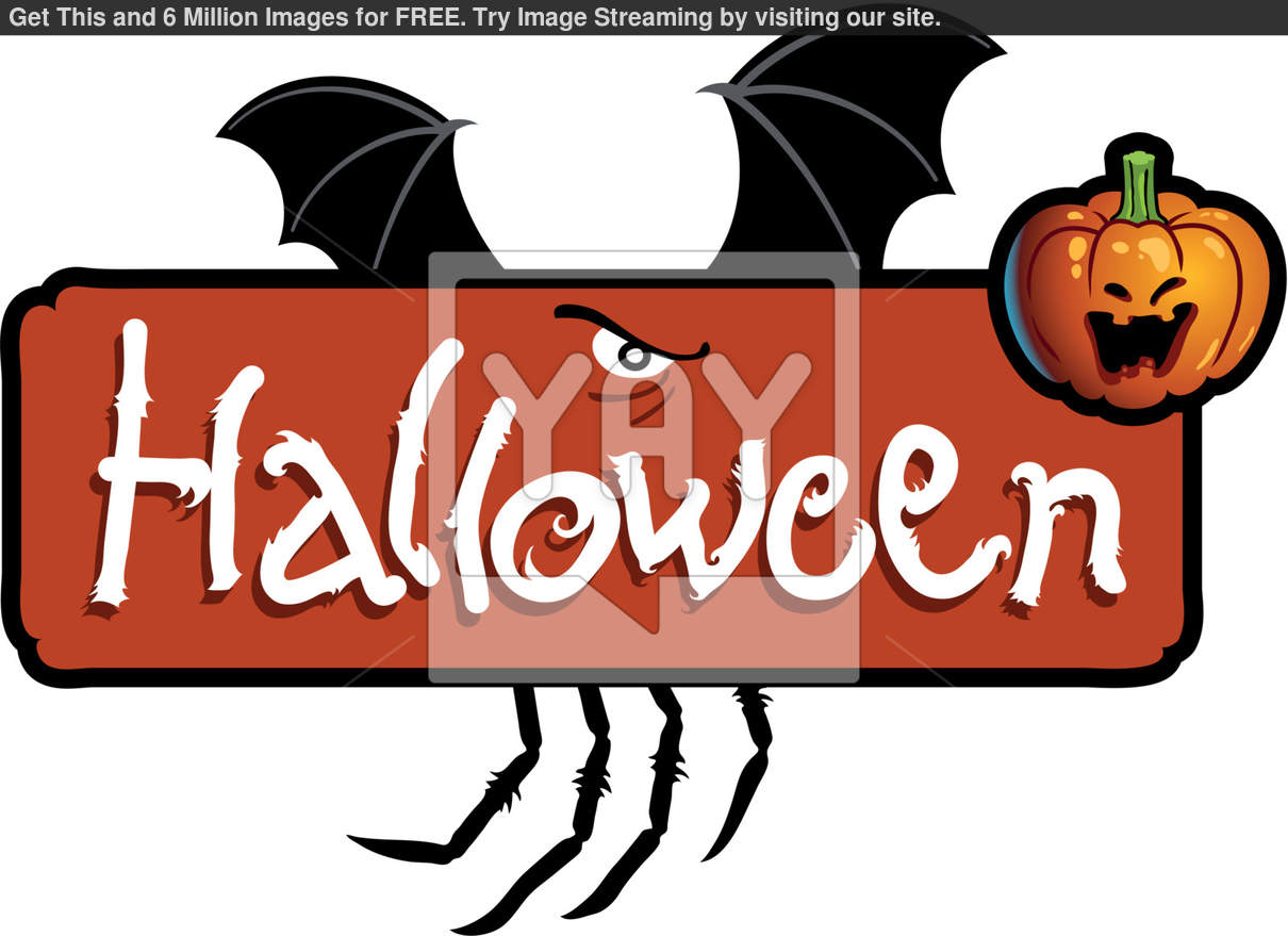 Halloween Scary Titling With Bat Wings Spider S Legs And A Pumpkin