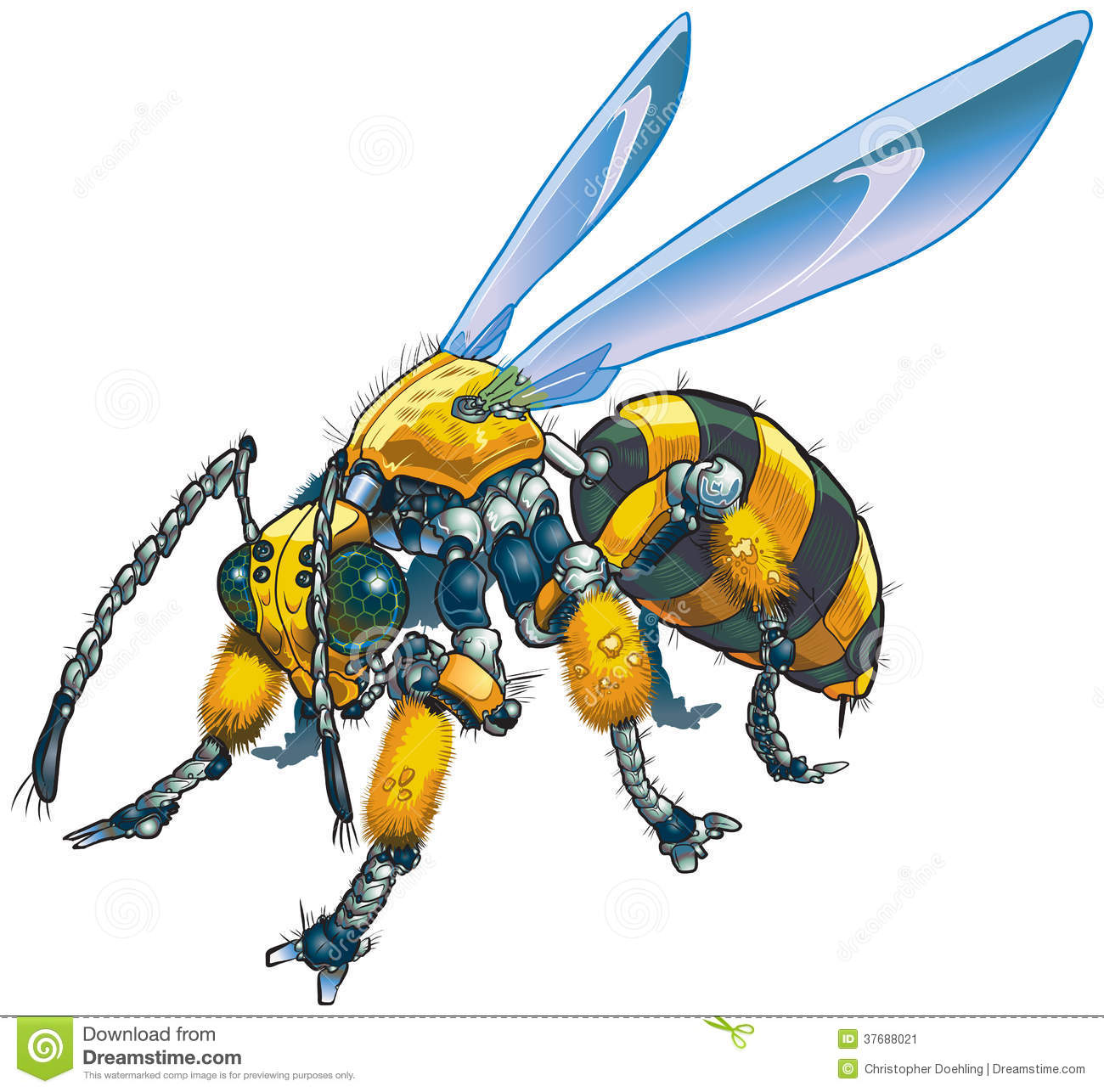 Robot Wasp Vector Clip Art Illustration Stock Image   Image  37688021