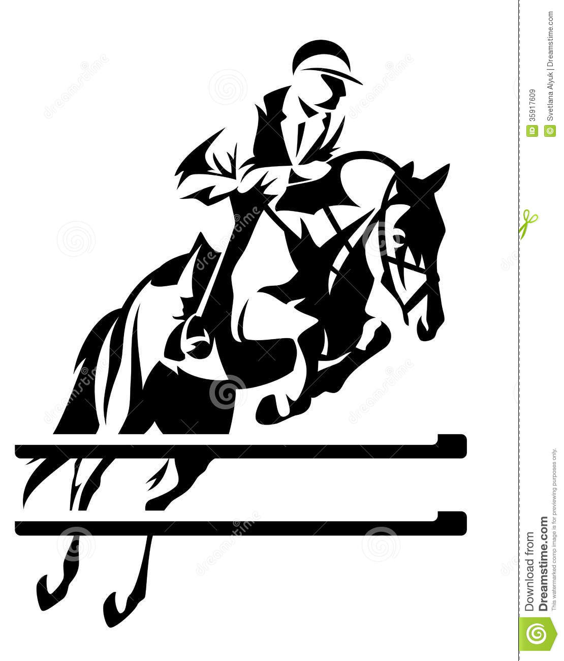 Show Jumping Horseman Design   Black And White Equestrian Sport Emblem