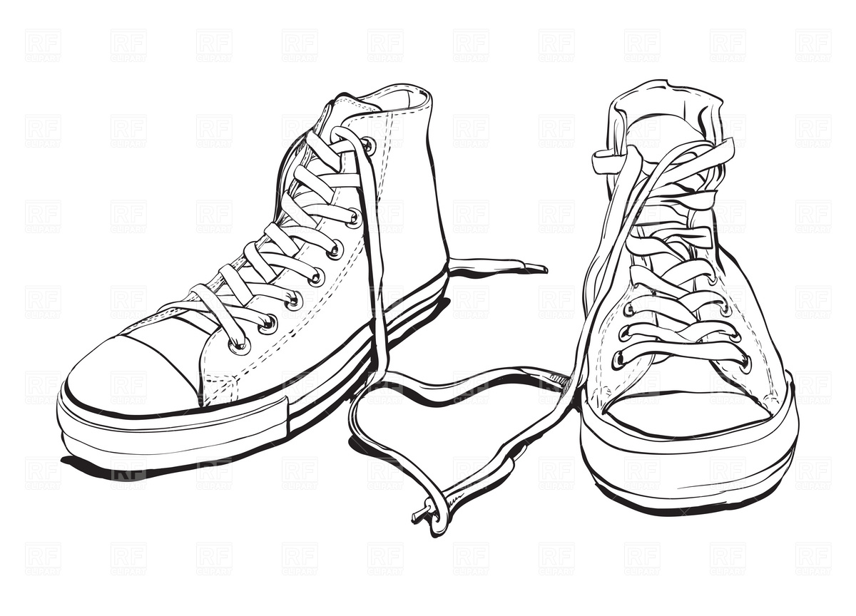 clip art black and white sneakers clipart clipart suggest