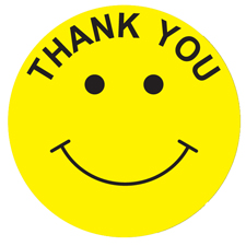 Thank You Happy Face Smiley Face 2 Cold Temp Labels Roll Of 1000