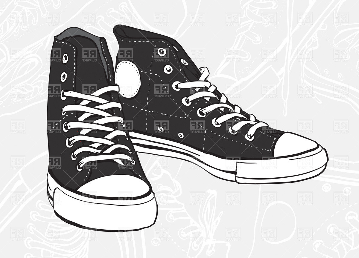 Women Shoes   Sneakers Clipart Black And White   Aecfashion Com