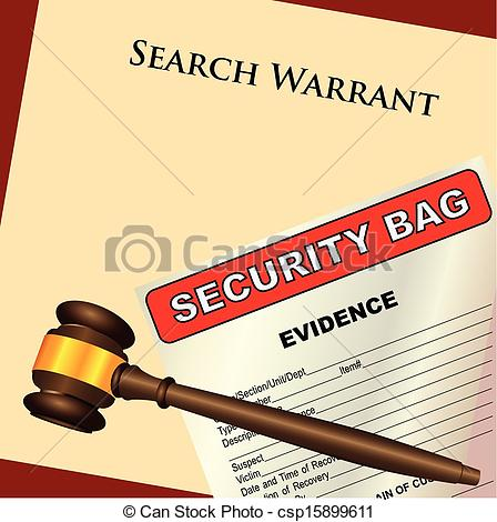 And Evidence   A Search Warrant With A    Csp15899611   Search Clipart
