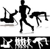 Athletic Sport Silhouettes Vector Clipart