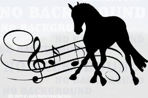 Beautiful Musical Dressage Horse Trailer Or Wall Large Black Vinyl