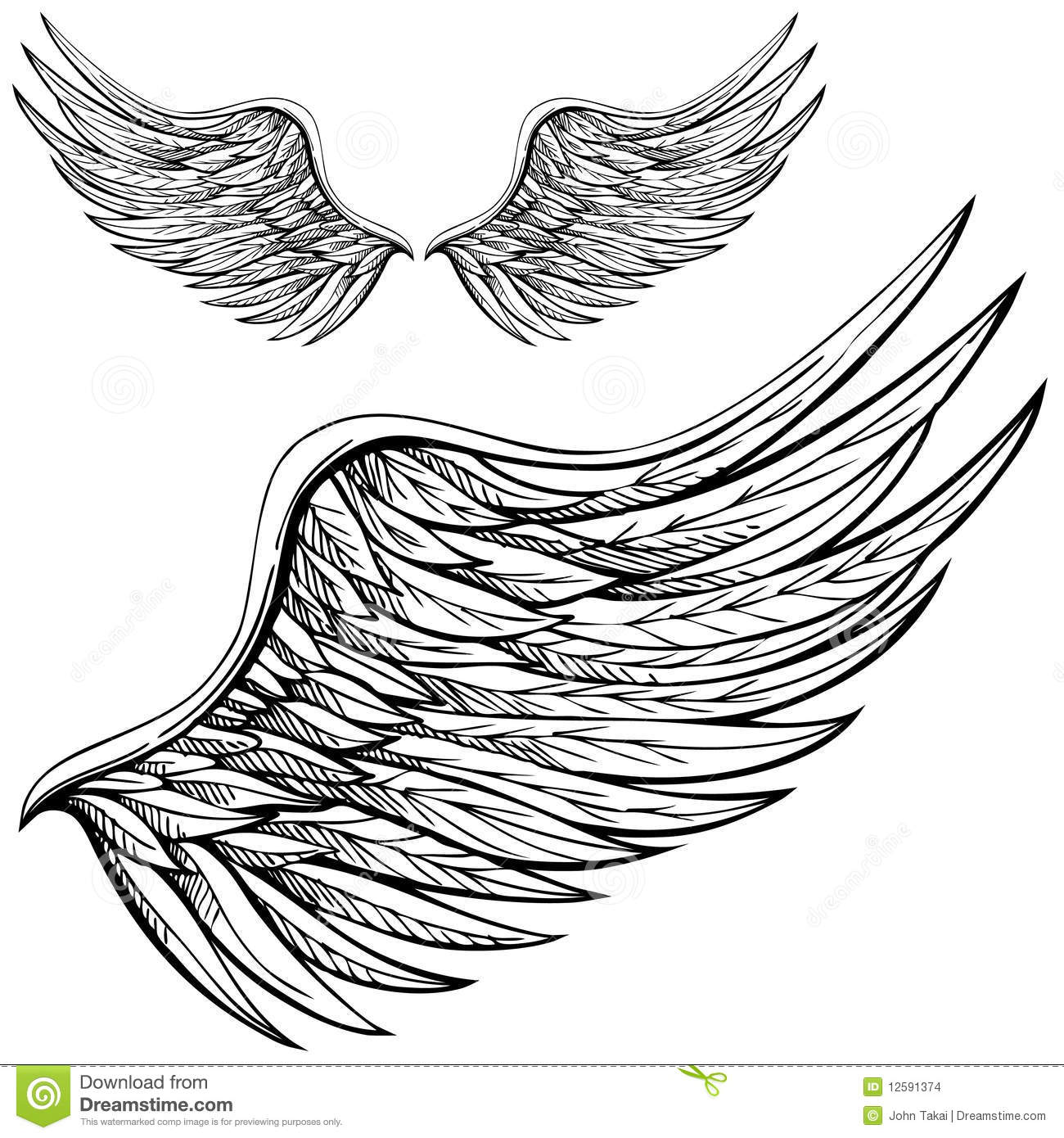 Cartoon Angel Wings In Black And White  Drawn By Hand