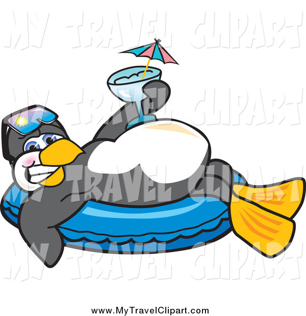 Clipart Of A Relaxed Penguin Relaxing On An Inner Tube And Holding A
