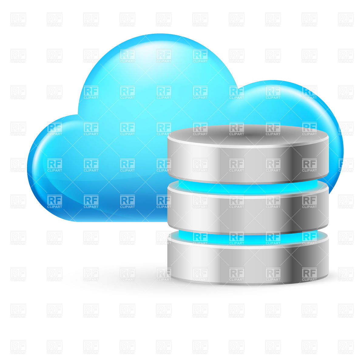 Cloud Computing Icon With Symbolic Database 9172 Icons And Emblems