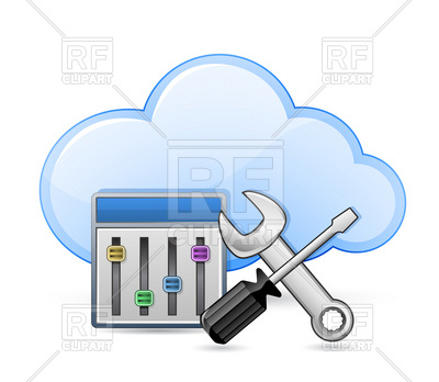 Cloud Server Optimization   Screwdriver Spanner And Cloud Download
