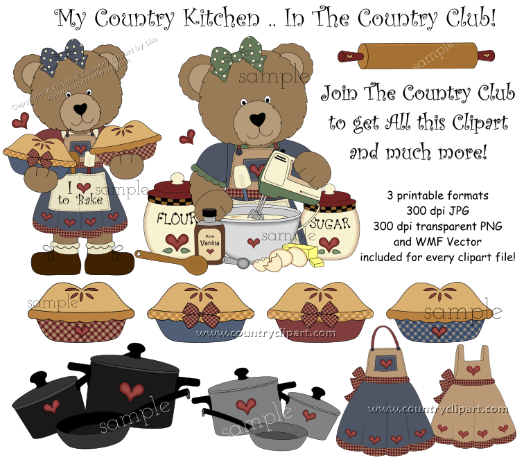 Country Kitchen   Cooking Graphics And Clipart Collection