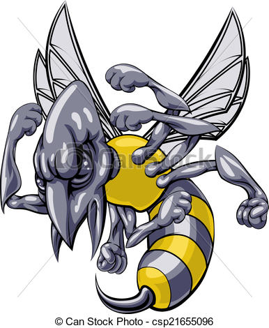 Eps Vectors Of Mean Wasp Or Hornet Mascot   A Mean Looking Hornet Wasp