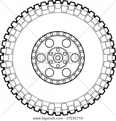 Off Road Tire Line Art Picture   Royalty Free Stock Photo Image