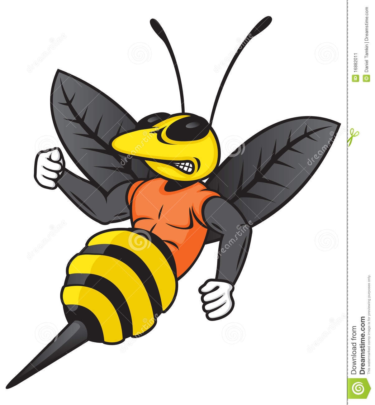 Personified Hornet Or Yellow Jacket Character With Dark Features