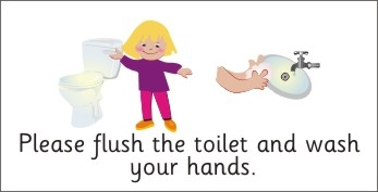 Please Flush Toilet Sign Clipart   Free Clipart