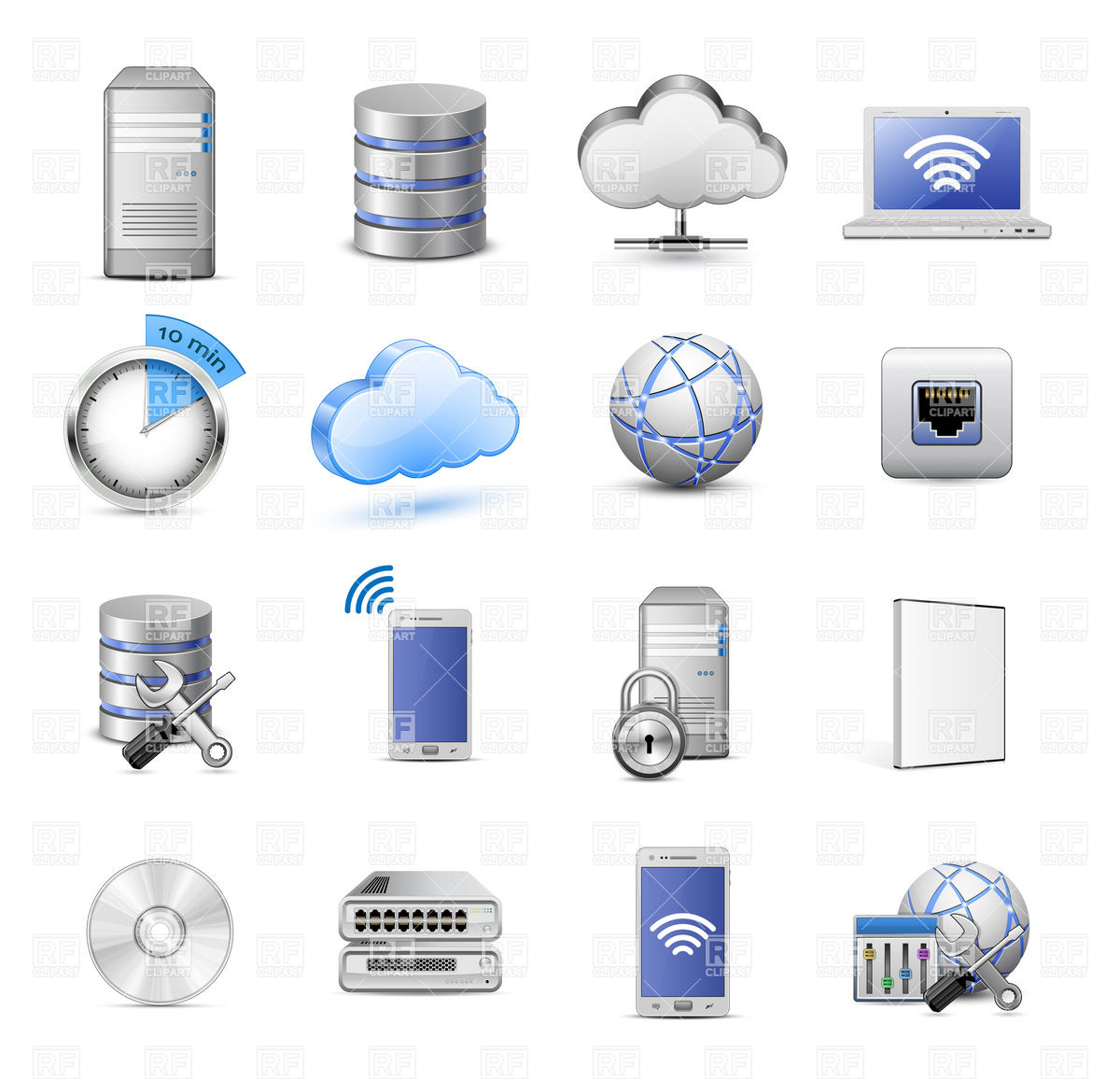 Server Database And Cloud Computing Icon Set 5462 Icons And Emblems
