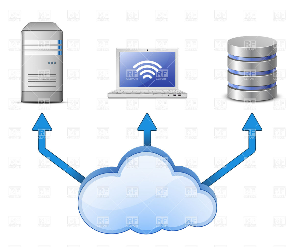 Server Database And Laptop Connected To Cloud Computing Network 5550