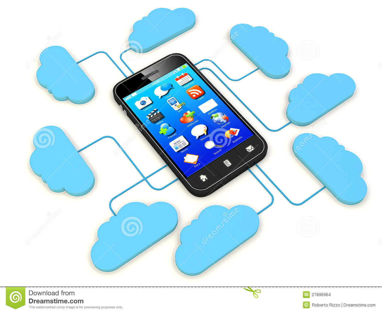 Smartphone Connected To Cloud Server Note  All Devices Design And All