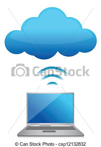 Vector   Modern Laptop Send Files To Cloud Server   Stock Illustration