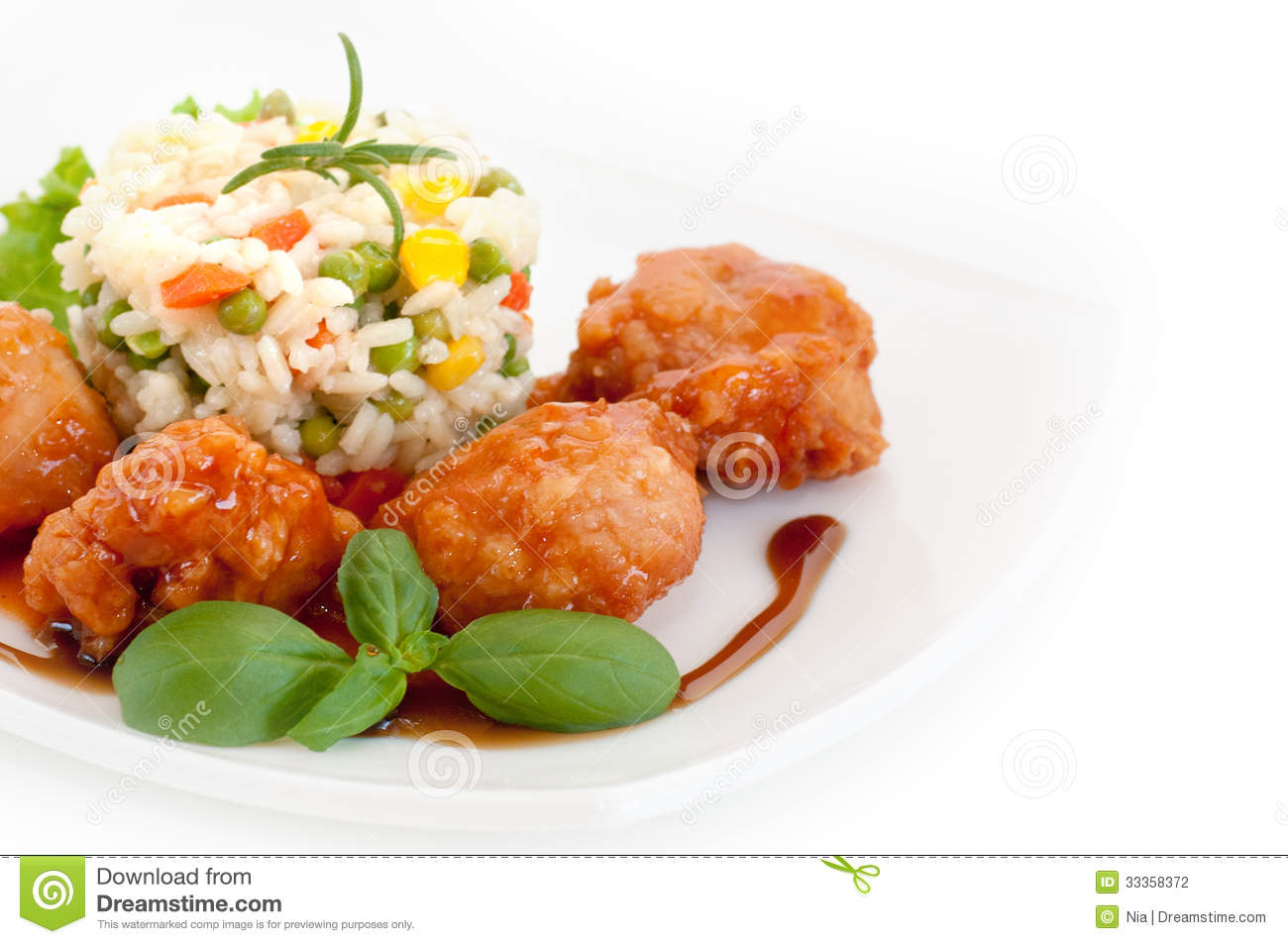 Asian Food   Chicken With Vegetables And Rice Stock Photography