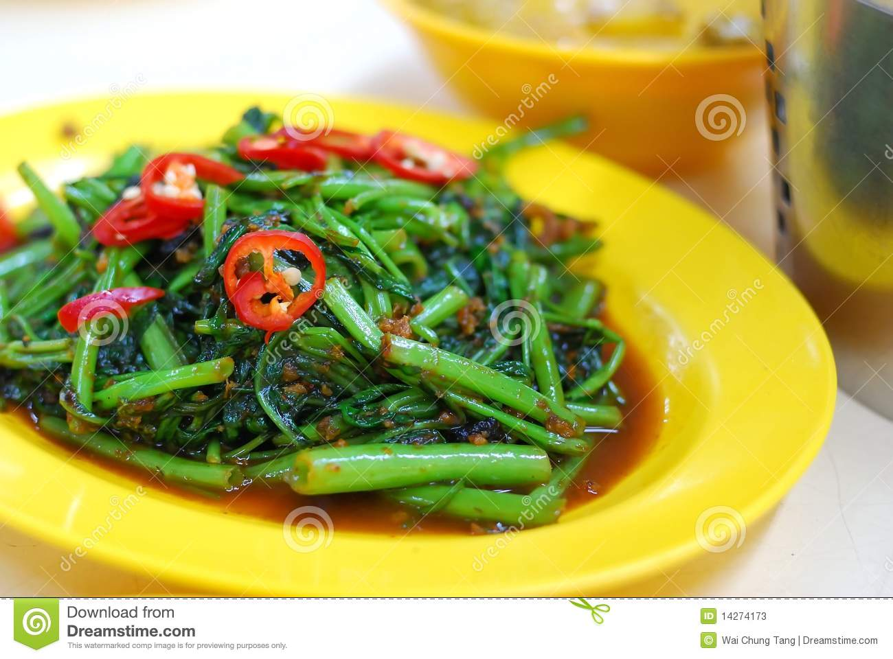 Asian Kangkong Vegetables Cooked With Spicy Sambal Chili Sauce  Also