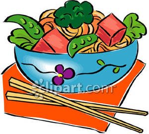 Asian Salad With Chopsticks   Royalty Free Clipart Picture