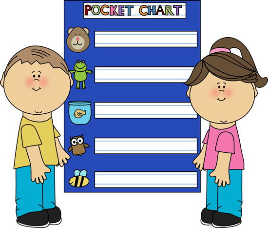 Chart Clip Art Image   Two Kids Standing In Front Of A Pocket Chart