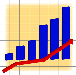 Chart Clipart Image   A Bar Graph And A Red Arrow Showing Increase In