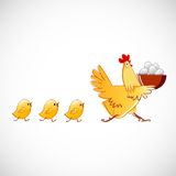 Chicken Carries A Bowl With The Eggs Stock Photos
