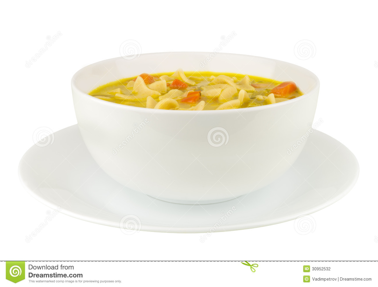 Chicken Noodle Soup On White Background Stock Photography   Image