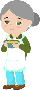 Chicken Soup Clipart Image   A Grandmother With A Bowl Of Chicken Soup