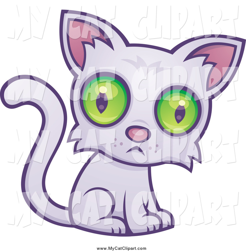 Larger Preview  Clip Art Of A Sad Green Eyed Cat Sitting By John