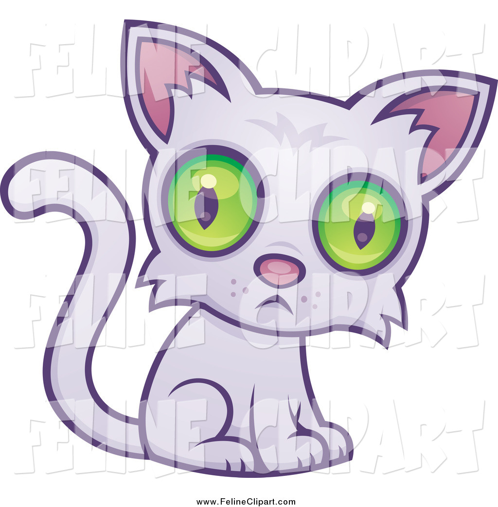 Larger Preview  Feline Clip Art Of A Sad Green Eyed Purple Cat By John