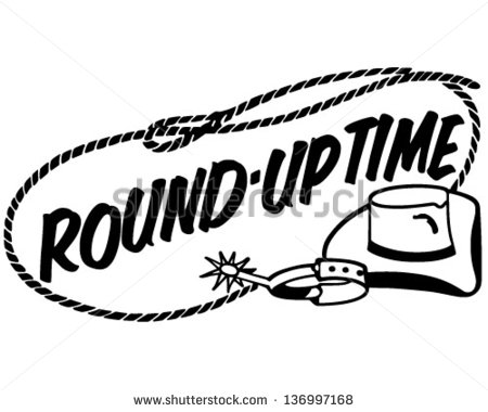 Round Up Time Banner   Retro Clip Art Illustration   Stock Vector