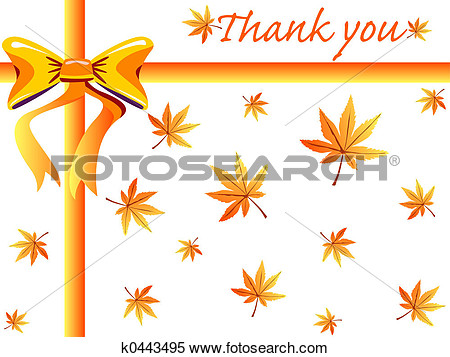 Stock Illustration   Fall Thank You Card  Fotosearch   Search Clipart