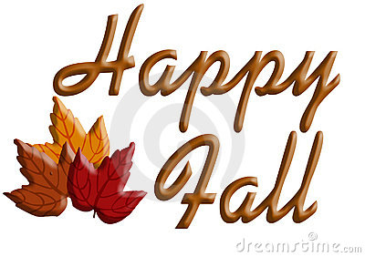 The Words  Happy Fall  With Three Brightly Colored Autumn Leaves