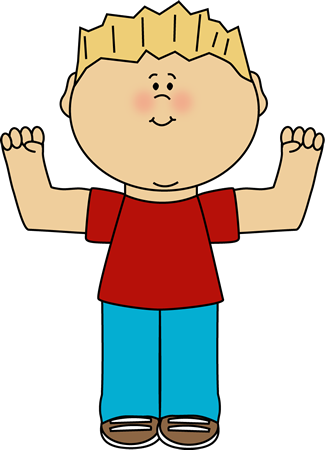 Boy Flexing Clip Art Image   Boy With Blonde Hair Flexing His Muscles