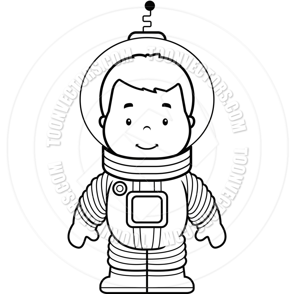 Cartoon Astronaut Boy  Black And White Line Art  By Cory Thoman   Toon