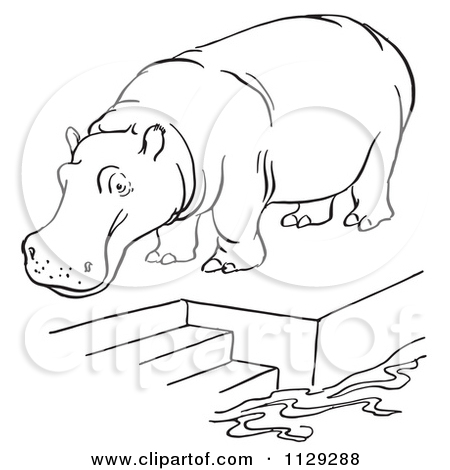 Cartoon Clipart Of An Outlined Zoo Hippo On A Pool Platform With