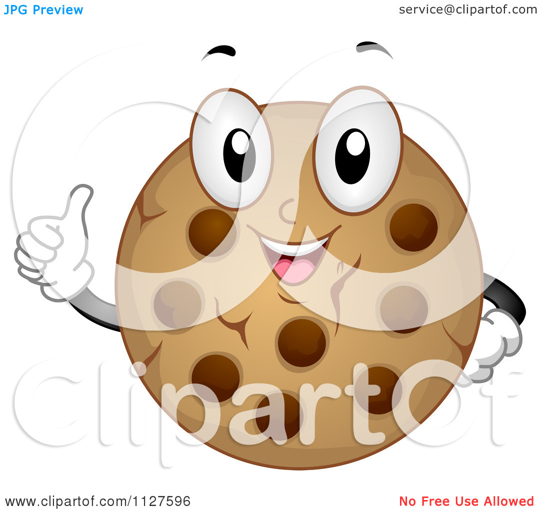 Cartoon Of A Chocolate Chip Cookie Mascot Holding A Thumb Up ...